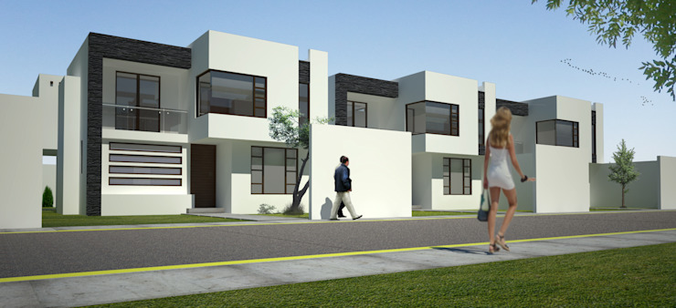 Render de conjunto Casas modernas de Arquitectura Libre Moderno