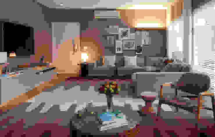 Salas modernas de MF Arquitetos Moderno Fibra natural Beige