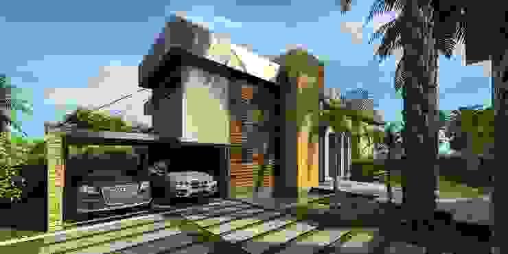 Perspectiva da entrada Casas tropicais por Simone Flores Arquitetos & Associados Tropical