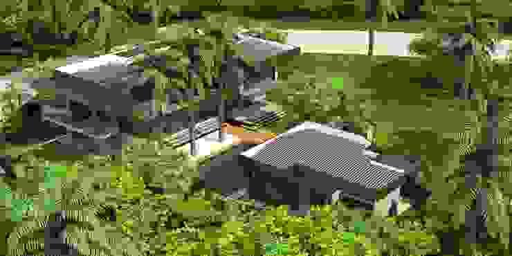 Perspectiva geral Casas tropicais por Simone Flores Arquitetos & Associados Tropical