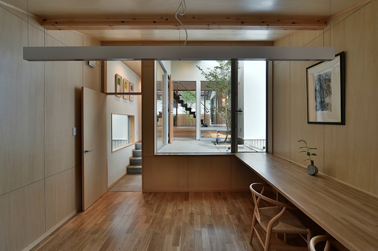 MJ2-house書斎 北欧デザインの 書斎 の 株式会社 森本建築事務所 北欧 合板(ベニヤ板)