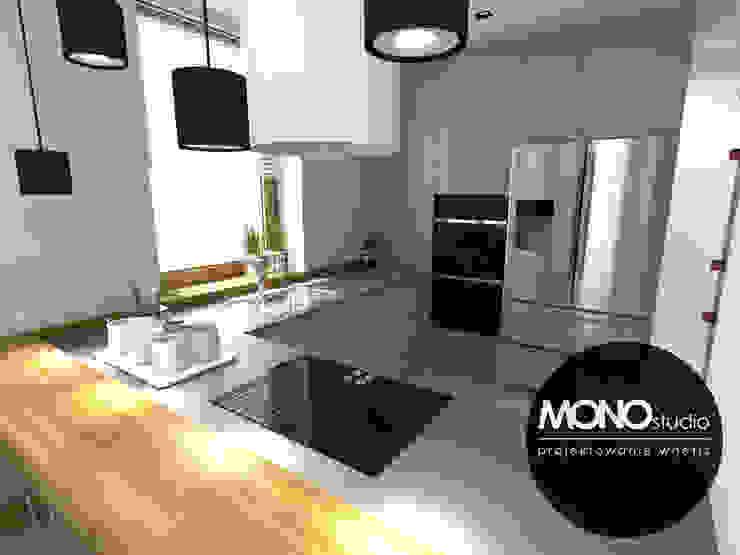 Nowoczesna minimalistyczna kuchnia w jasnej tonacji . Nowoczesna kuchnia od MONOstudio Nowoczesny Kompozyt drewna i tworzywa sztucznego