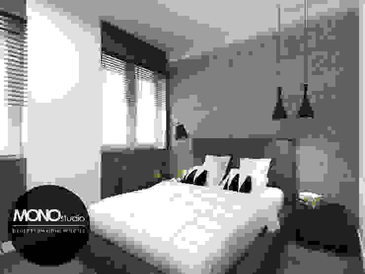 Oryginalna i nowoczesna sypialnia z akcentem. Nowoczesna sypialnia od MONOstudio Nowoczesny Kompozyt drewna i tworzywa sztucznego