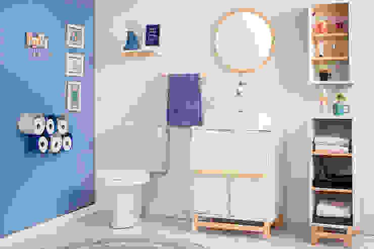 Decoração para banheiro pequeno por Meu Móvel de Madeira Minimalista Madeira Acabamento em madeira