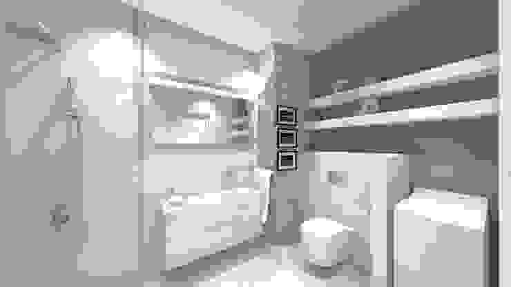 wizualizacja łazienka Minimalistyczna łazienka od Julia Domagała wnętrza Minimalistyczny