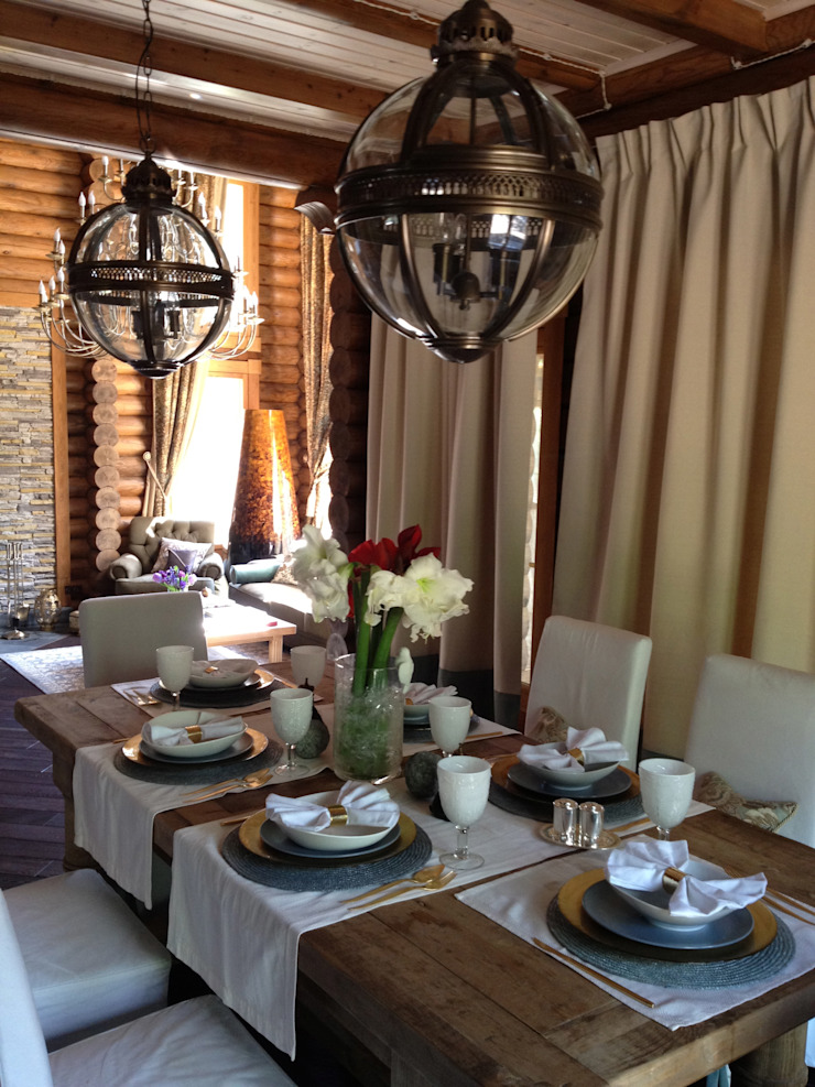 Rustic style dining room by Ольга Куликовская-Эшби Rustic