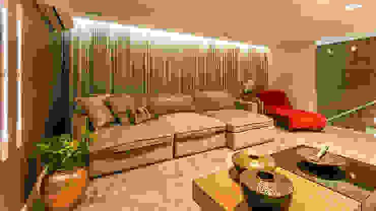 Sala Home Theater Salas de estar modernas por Flaviane Pereira Moderno Madeira Efeito de madeira