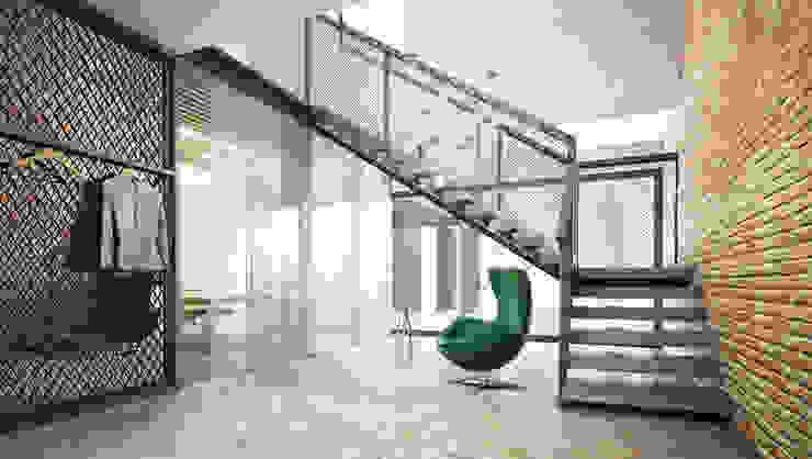 Pasillos, vestíbulos y escaleras modernos de Majchrzak Pracownia Projektowa Moderno