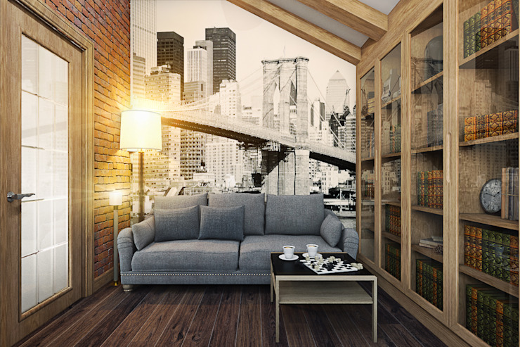 Кабинет Рабочий кабинет в стиле лофт от Дизайн студия Жанны Ращупкиной Лофт Дерево Эффект древесины