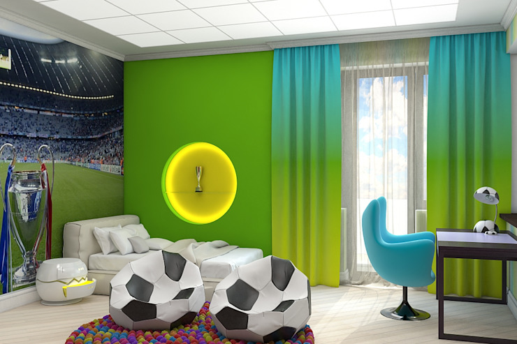 Детская в футбольном стиле: Детские комнаты в . Автор – Дизайн студия Жанны Ращупкиной, Модерн