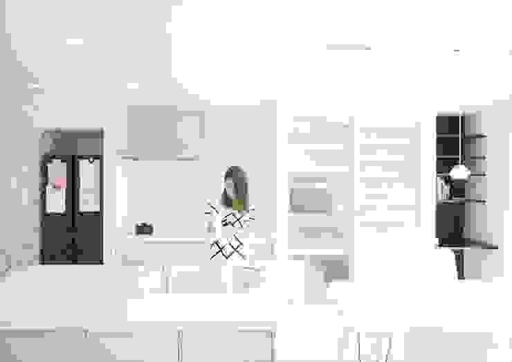 フルフラットのアイランドタイプのⅡ型キッチン モダンな キッチン の ナイトウタカシ建築設計事務所 モダン