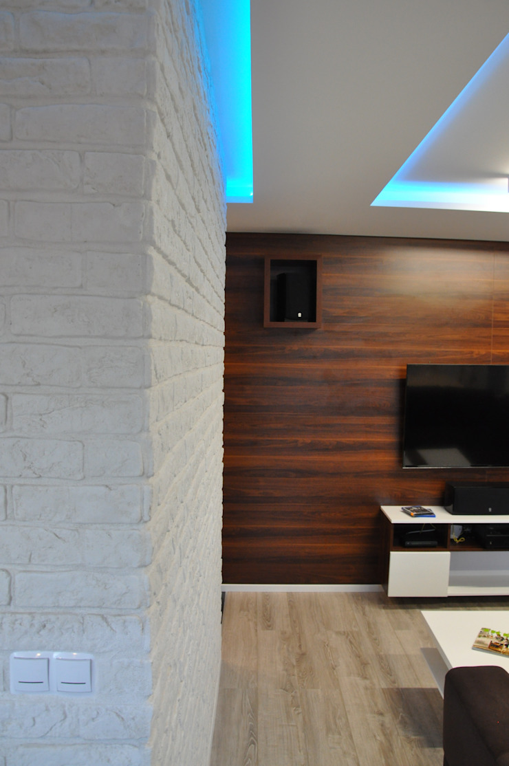 Mieszkanie 55m2 na Osiedlu pod Wierzbami w Dąbrowie Górniczej Nowoczesny salon od Ale design Grzegorz Grzywacz Nowoczesny