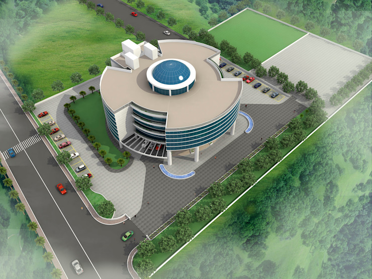 Birds Eye View Modern office buildings by Sthaptya Vishwa Project Consultants Modern