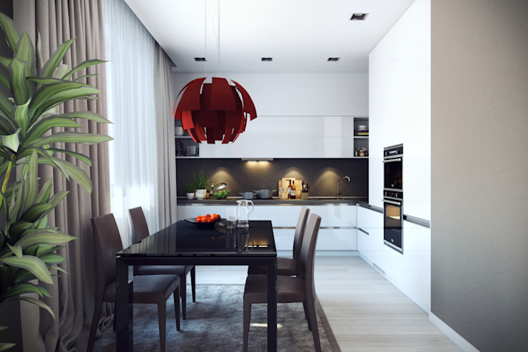 Трехкомнатная квартра в г.Новосибирск Кухни в эклектичном стиле от Design Studio Details Эклектичный