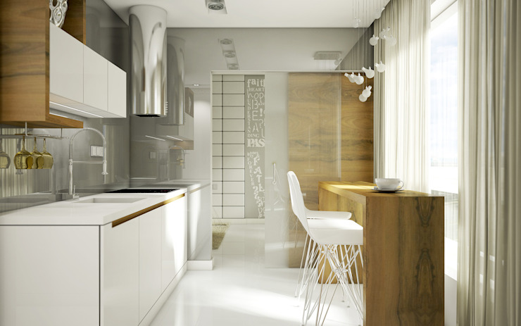 NatusDESIGN Pracownia Architektury Wnętrz Cocinas minimalistas Tablero DM Blanco