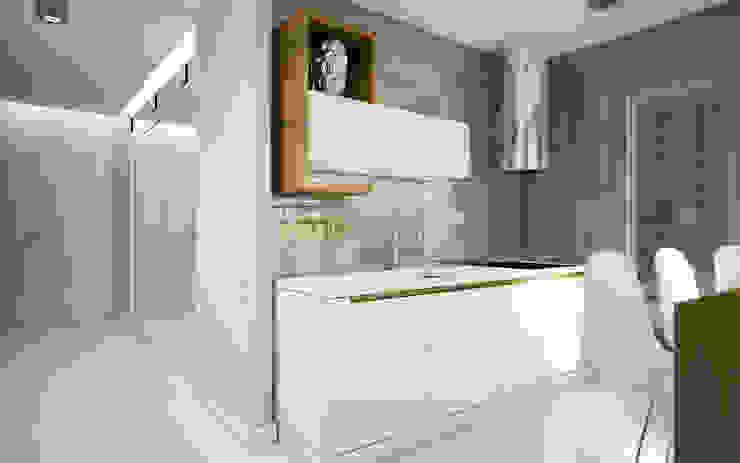NatusDESIGN Pracownia Architektury Wnętrz Cocinas de estilo minimalista Tablero DM Blanco