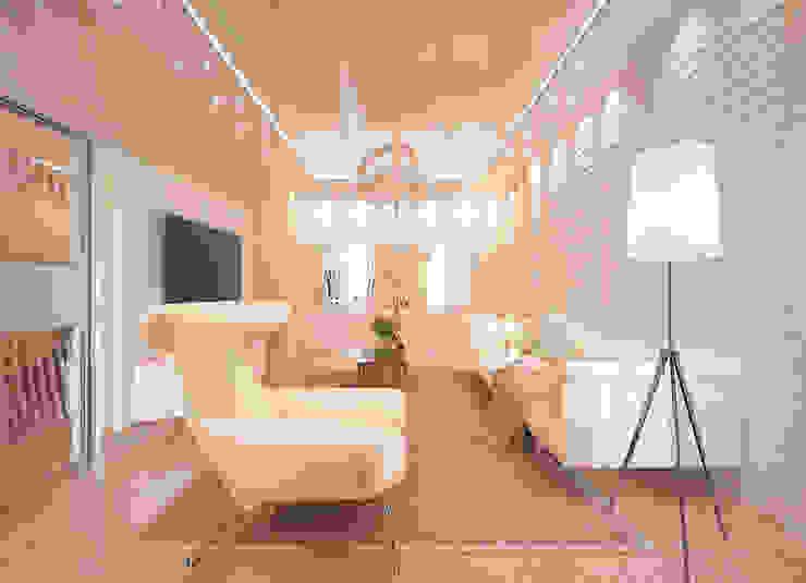 """Дизайн гостиной в современном стиле в ЖК """"Новый город"""" Гостиная в стиле модерн от Студия интерьерного дизайна happy.design Модерн"""