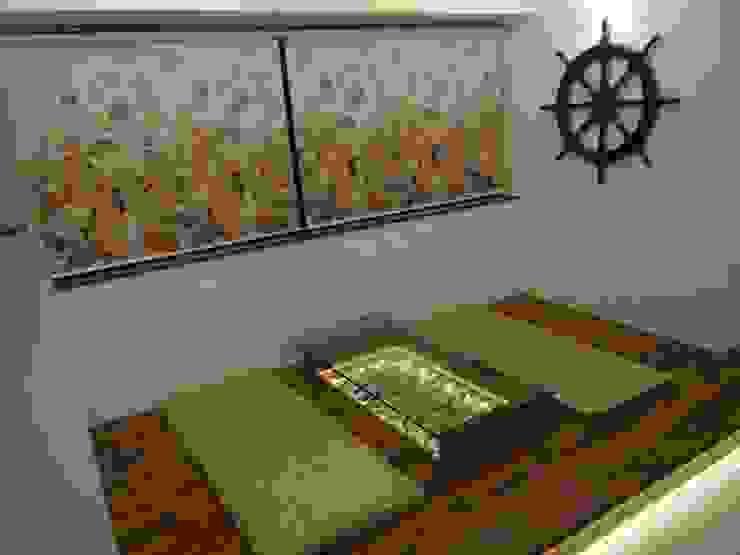 Rajeev Sapre Residence Rustic style living room by Nuvo Designs Rustic