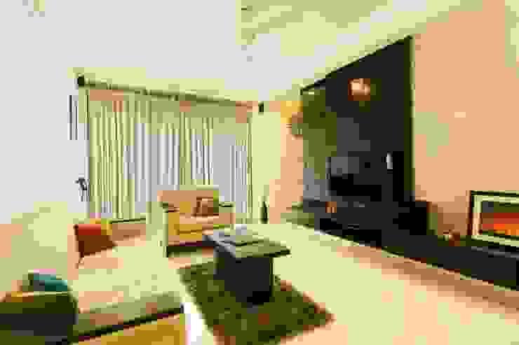 2BHK Residence Modern living room by INTERIOR WORKS Modern Chipboard