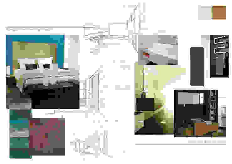 Planche d'ambiance chambre et salle de bains Chambre moderne par Kauri Architecture Moderne