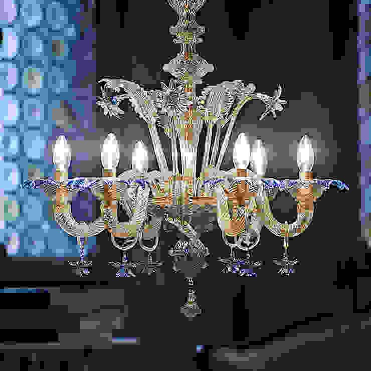 Lampadario classico blu e oro in vetro di Murano - DA PONTE YourMurano Lighting Sala da pranzoIlluminazione Vetro Ambra/Oro