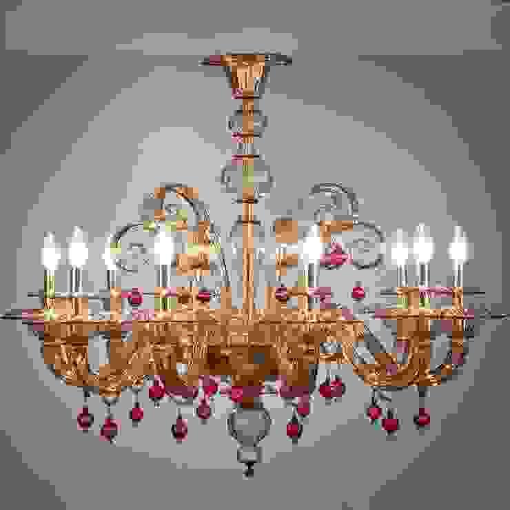 Lampadario classico ambra e rubino in vetro di Murano - MANIN YourMurano Lighting Camera da lettoIlluminazione Vetro Ambra/Oro