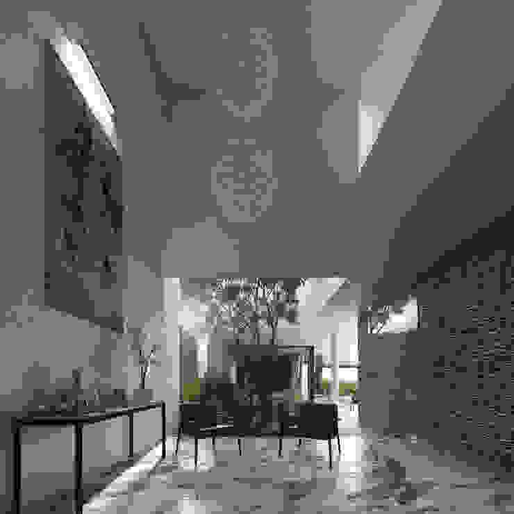 Casa Ortiz Pasillos, vestíbulos y escaleras modernos de TNGNT arquitectos Moderno