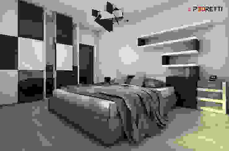 Render interni Camera da letto moderna di P3dretti Moderno