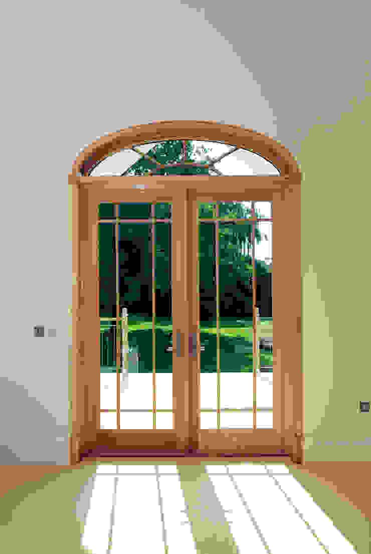 Aluminium Clad Wood French Door With Sunburst Pattern Top Marvin Windows and Doors UK Pintu & Jendela Gaya Klasik