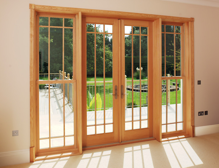 French Door and Sliding Sash Window Combination Marvin Windows and Doors UK Pintu & Jendela Gaya Klasik