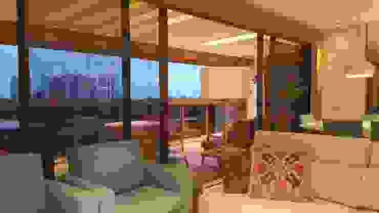 Detalhes living e varanda integrada. Salas de estar modernas por Lucio Nocito Arquitetura e Design de Interiores Moderno