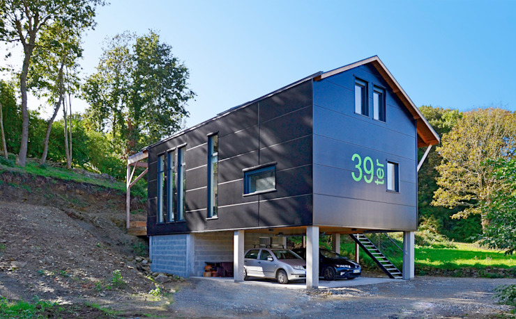 Projekty,  Domy zaprojektowane przez Bertin Bichet, Skandynawski Aluminium/Cynk