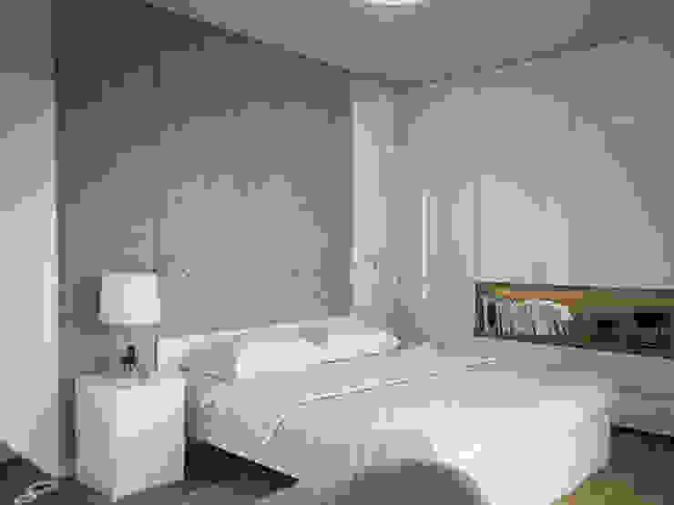 PROJEKT WNĘTZR DOMU JEDNORODZINNEGO Nowoczesna sypialnia od Kunkiewicz Architekci Nowoczesny
