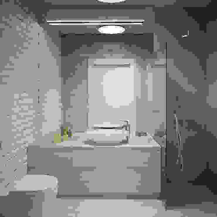 PROJEKT WNĘTZR DOMU JEDNORODZINNEGO Nowoczesna łazienka od Kunkiewicz Architekci Nowoczesny