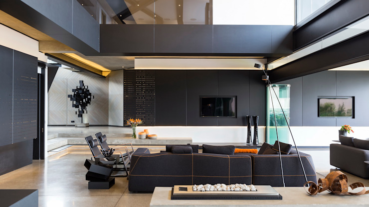 House in Kloof Road Livings de estilo moderno de Nico Van Der Meulen Architects Moderno