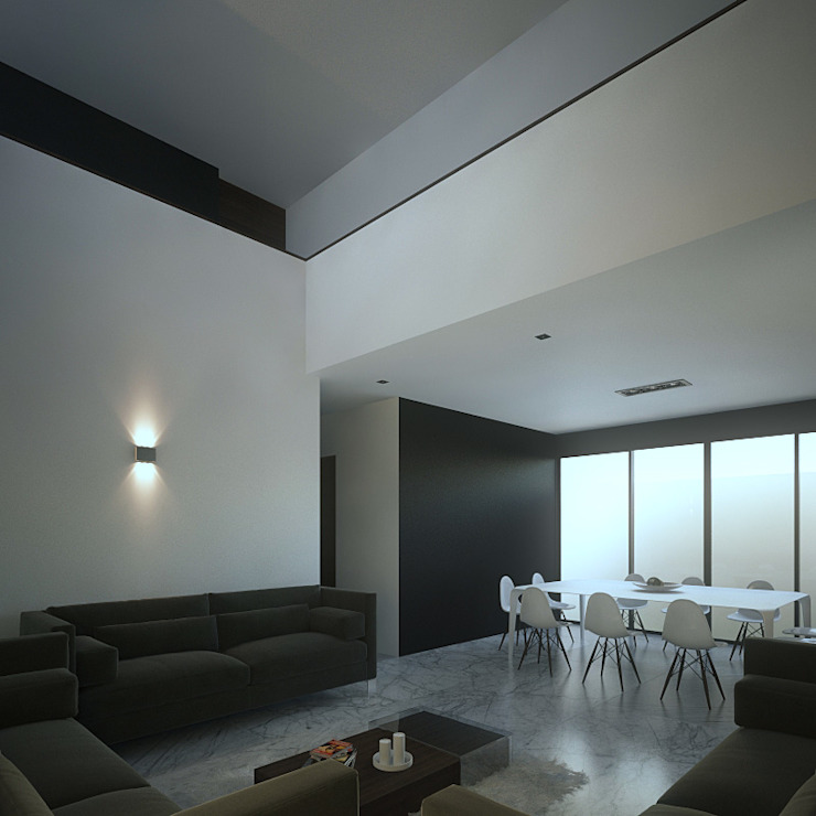 Doble altura Salones minimalistas de RTstudio Minimalista