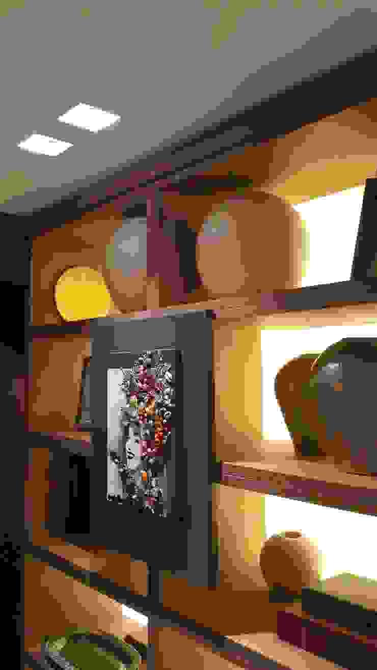 Detalhes estante. por Lucio Nocito Arquitetura e Design de Interiores Moderno Madeira Efeito de madeira