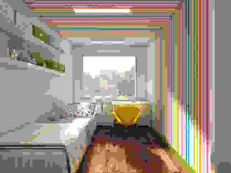 Pokój dziewczynki- z przewagą pasków /1: styl , w kategorii Pokój dziecięcy zaprojektowany przez UTOO-Pracownia Architektury Wnętrz i Krajobrazu