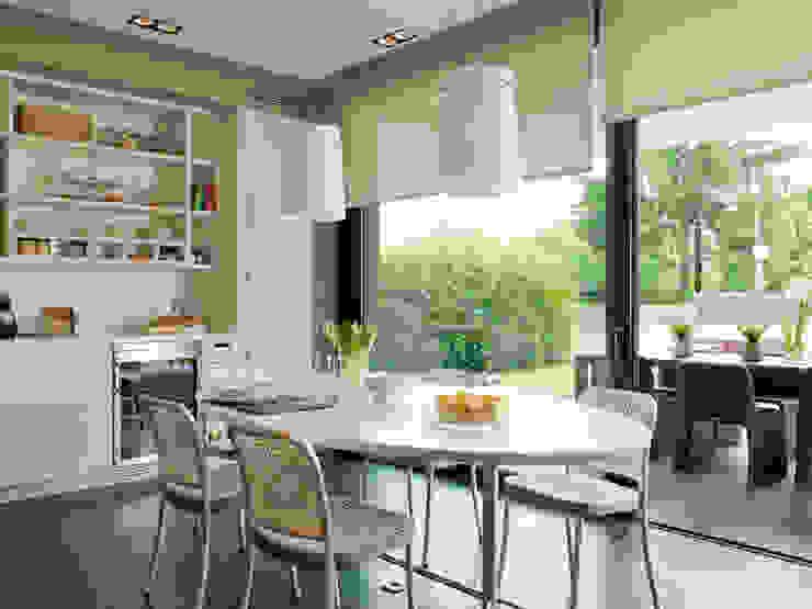 El comedor de la cocina en paralelo del exterior Cocinas de estilo moderno de DEULONDER arquitectura domestica Moderno