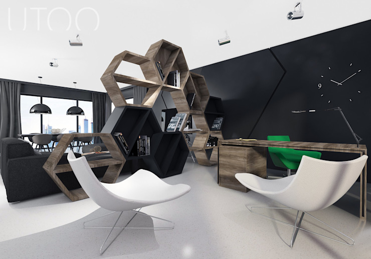 Oficinas y bibliotecas de estilo moderno de UTOO-Pracownia Architektury Wnętrz i Krajobrazu Moderno
