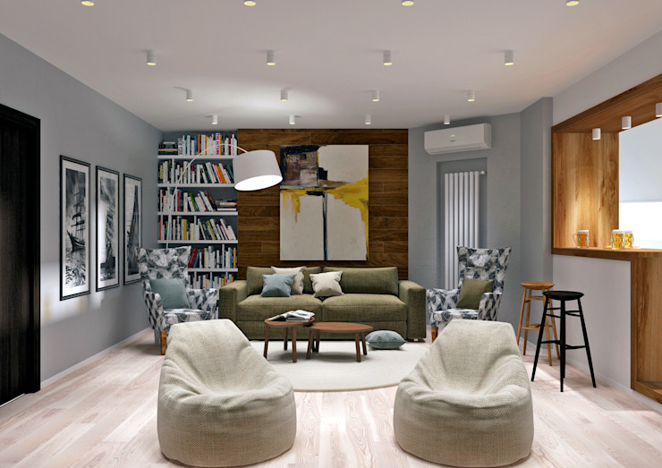 QUADRUM STUDIO Industrial style living room