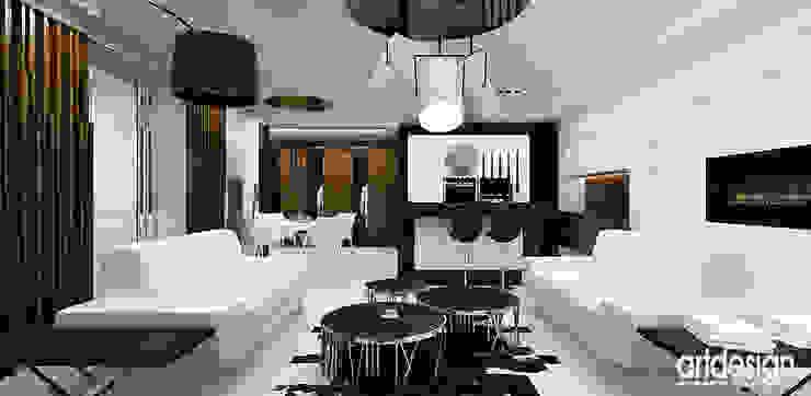 salon z kuchnią w nowoczesnym apartamencie Nowoczesny salon od ARTDESIGN architektura wnętrz Nowoczesny