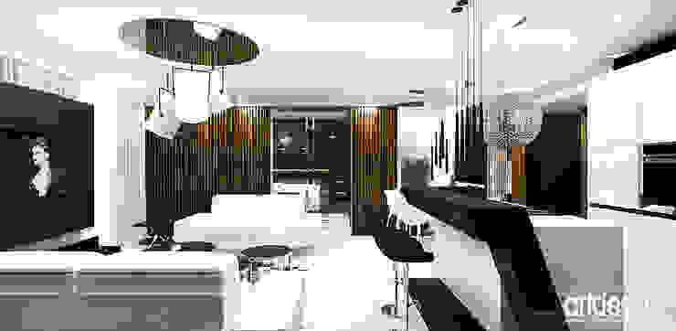 salon z kuchnią Nowoczesna kuchnia od ARTDESIGN architektura wnętrz Nowoczesny