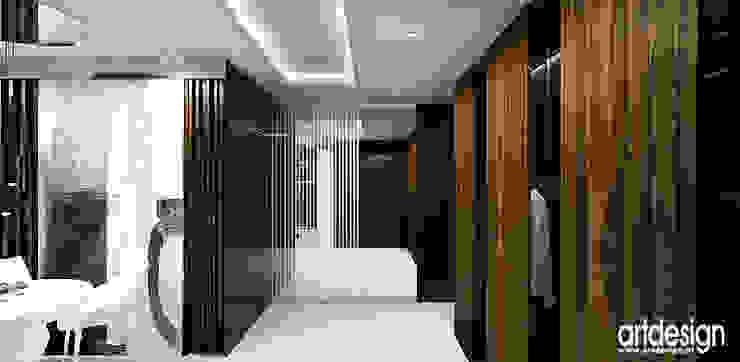 hol z garderobą Nowoczesny korytarz, przedpokój i schody od ARTDESIGN architektura wnętrz Nowoczesny