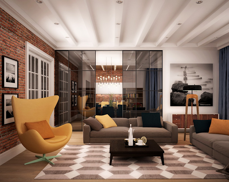 Eclectic style living room by ООО 'Студио-ТА' Eclectic