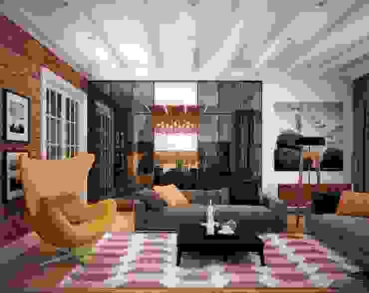 Апартаменты на Фрунзенской Гостиные в эклектичном стиле от ООО 'Студио-ТА' Эклектичный
