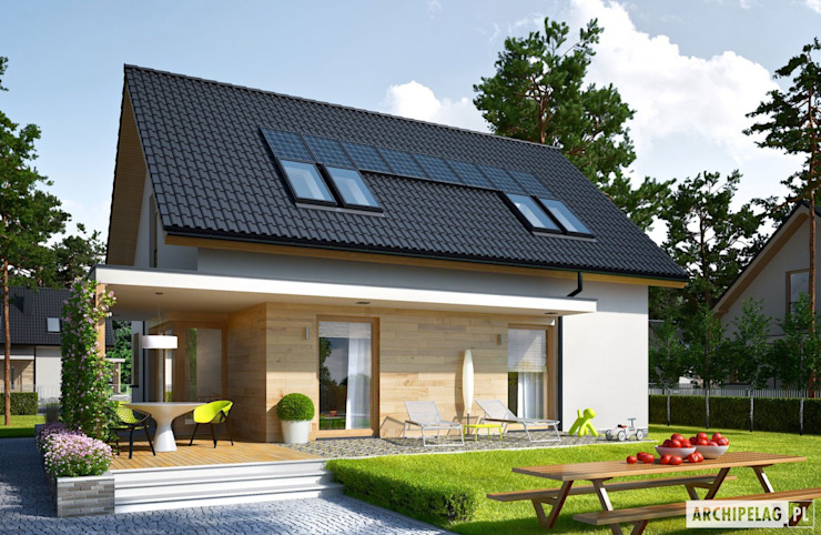 Projekt domu Lila ECONOMIC Nowoczesne domy od Pracownia Projektowa ARCHIPELAG Nowoczesny