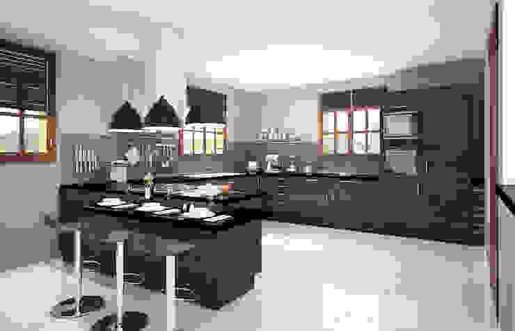 cuisine en L moderne Concept d'intérieur CuisinePlans de travail Bois Marron