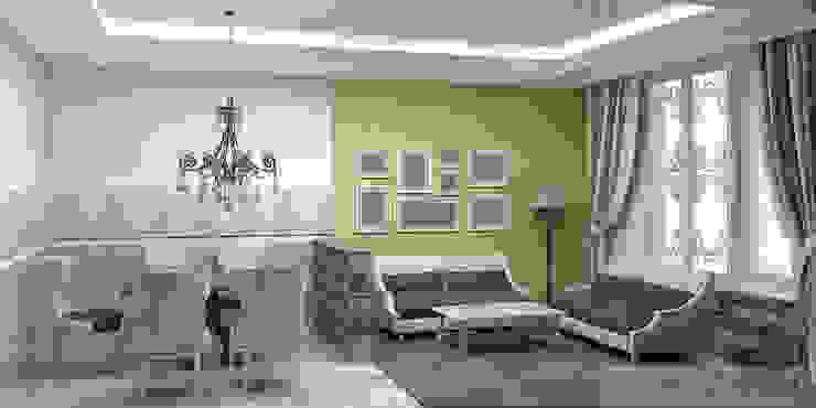 дизайн проект на проспекте Маршала Жукова Гостиные в эклектичном стиле от JULIA KABANOVA's DESIGN STUDIO Эклектичный
