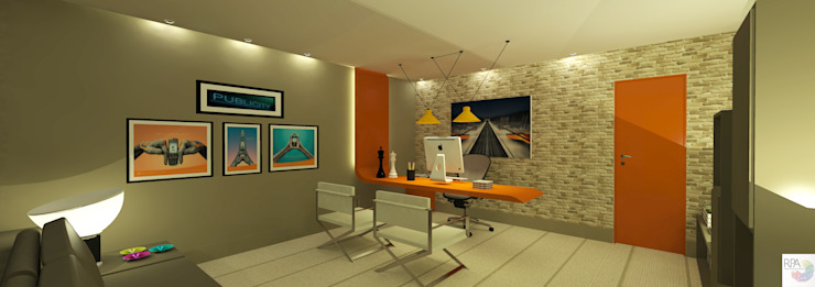Office do Publicitário por Rangel & Bonicelli Design de Interiores Bioenergético Moderno